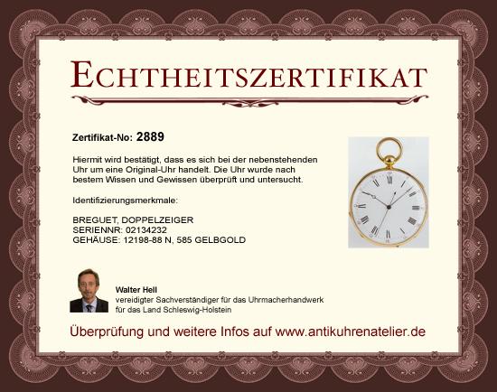 Antikuhrenatelier :: Echtheitszertifikate